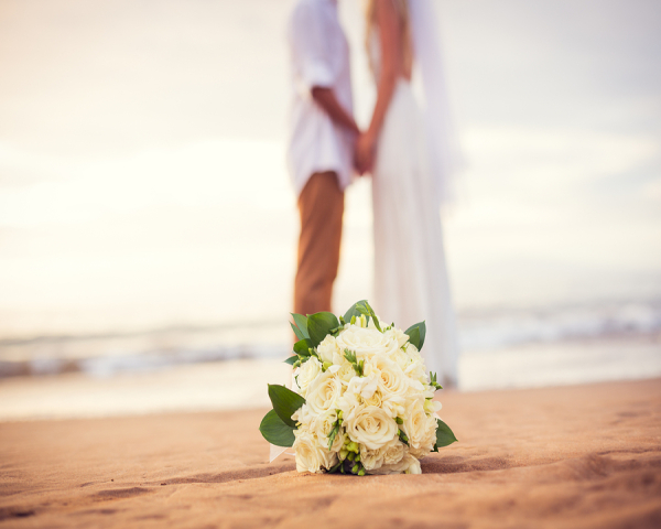 White Beach Wedding Flowers